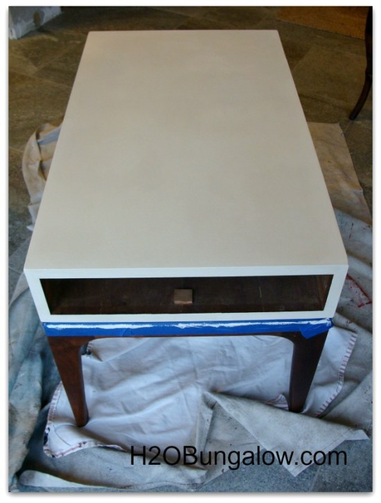 taping off and painting my midcentury end table