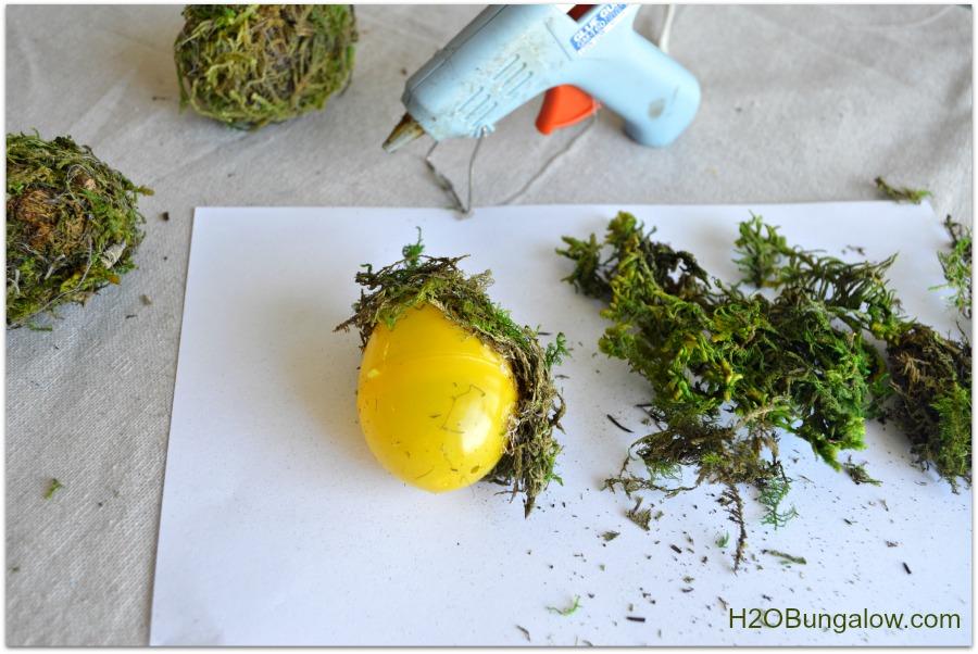 hot glue moss covered easter eggs