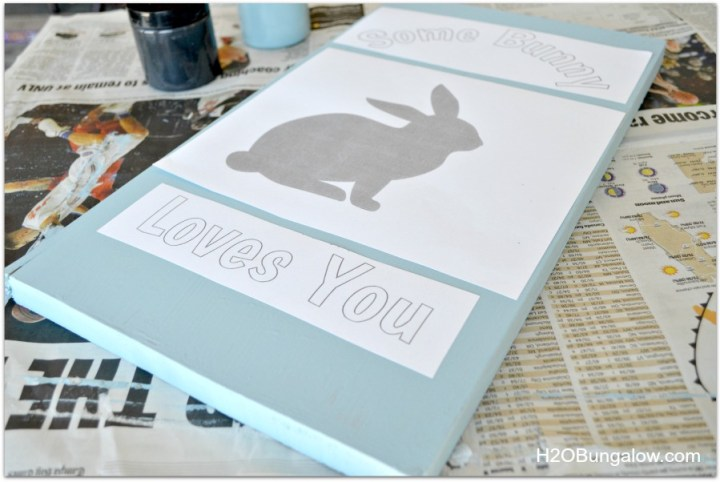 position Bunny template onto wood sign
