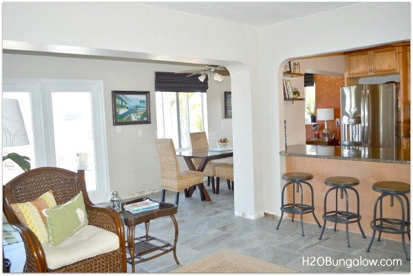 Home tour side view of dining and living room H2OBungalow