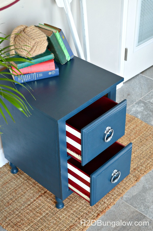 Blue-nightstand-with-red-and-white-stripe-drawers-H2OBungalow