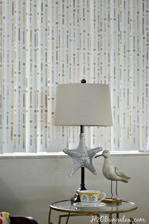 Stenciled-vertical-blinds-transforms-boring-blinds-into-a-huge WOW!-H2OBungalow