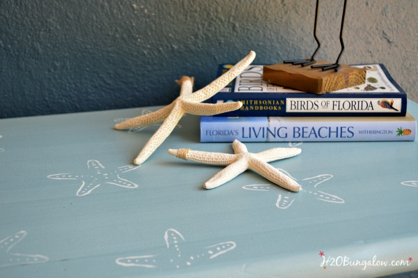 Small end table with starfish pattern stenciled H2OBungalow
