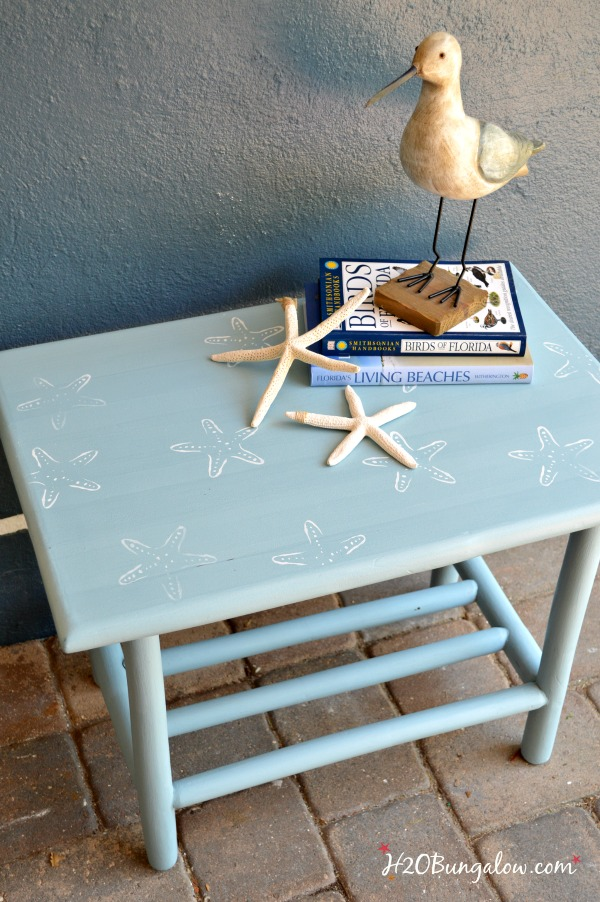 Starfish-painted-stenciled-side-table-H2OBungalow