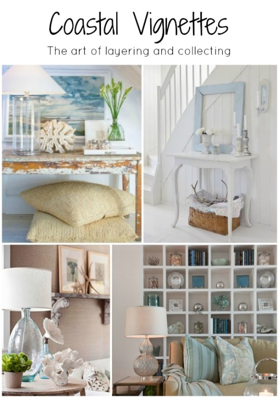 Coastal Vignettes, the art of layering, collecting and displaying.  Beautiful images to inspire  and feed the creative spirit .  By H2OBungalow #vignettes #coastal