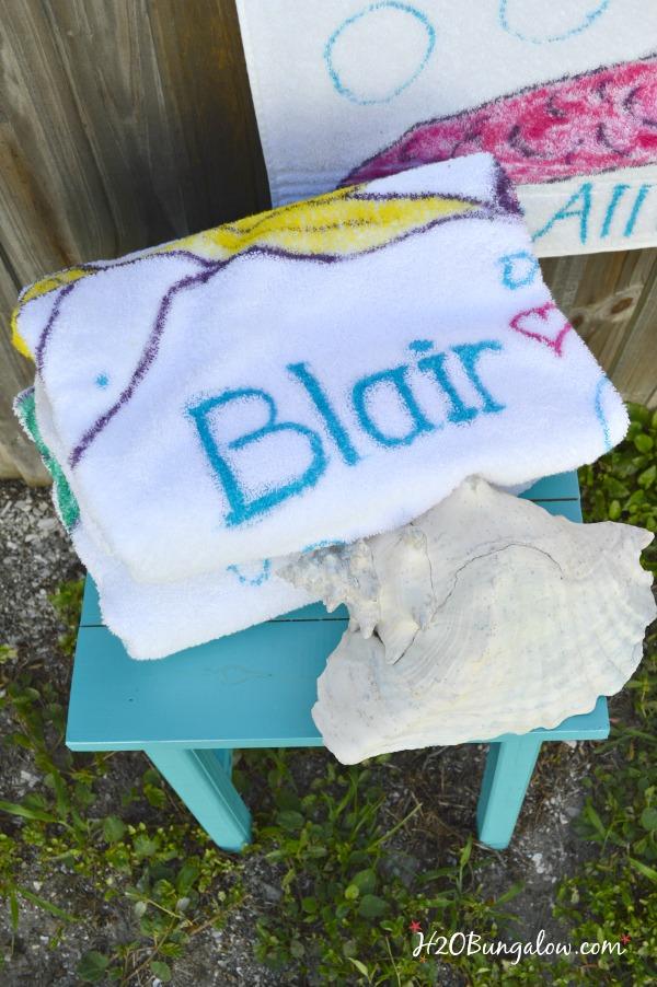 Personalized tye die mermaid beach towels and paint tutorial by H2OBungalow