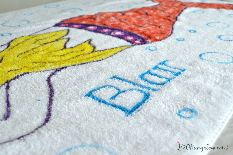 Personalized tie dye mermaid beach towel by H2OBungalow