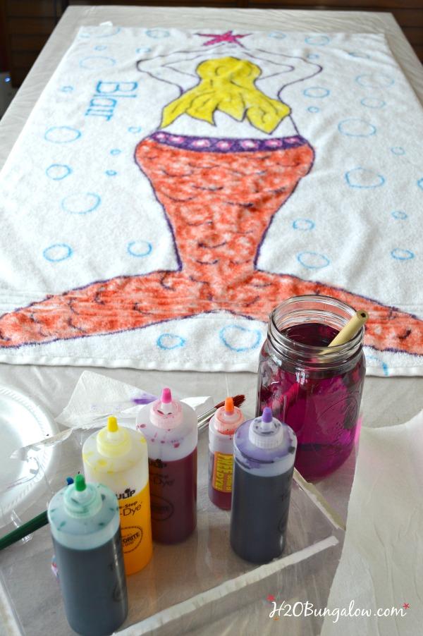 Tie dye mermaid beach towel is easy to make H2OBungalow