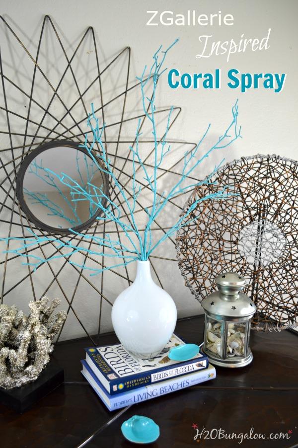 ZGallerie inspired coral spray in white milkglass DIY coastal decor by H2OBungalow #coastaldecor