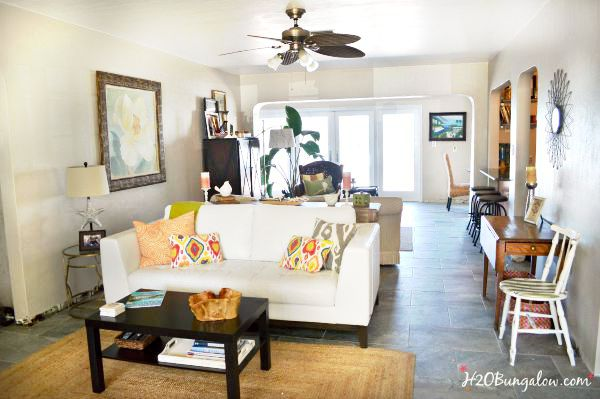 How to place furniture in a long narrow living room for style and comfort is easier than you'd think www.H2OBungalow.com