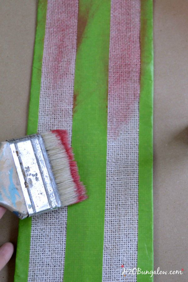 stripe burlap ribbon with red paint H2OBungalow