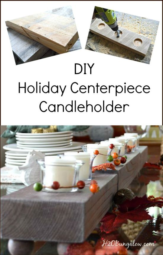 Make this DIY wood candleholder holiday table centerpiece for a casual elegant tablescape. Three pieces make endless opportunities for a beautiful table. www.H2OBungalow.com #PowertoolChallengeTeam #Falldecor ##Powertoolproject