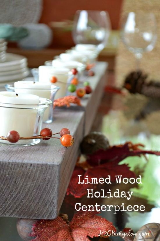 Make this DIY limed wood holiday candleholder for your holiday table. Use all three pieces ened to end, or break them up for long tables. Adds a casual elegance in a contemporary, rustic, farmhouse or coatal setting. www.H2OBungalow.com #PowertoolChallengeTeam #Falldecor ##Powertoolproject