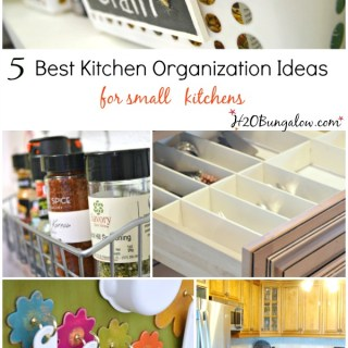 5 best kitchen organizing ideas for small kitchens. Even large kitchens can benefit from these space saving DIY organization tips that keep everything in it's place without sacrificing a pretty kitchen www.H2OBungalow.com #organizedkitchen