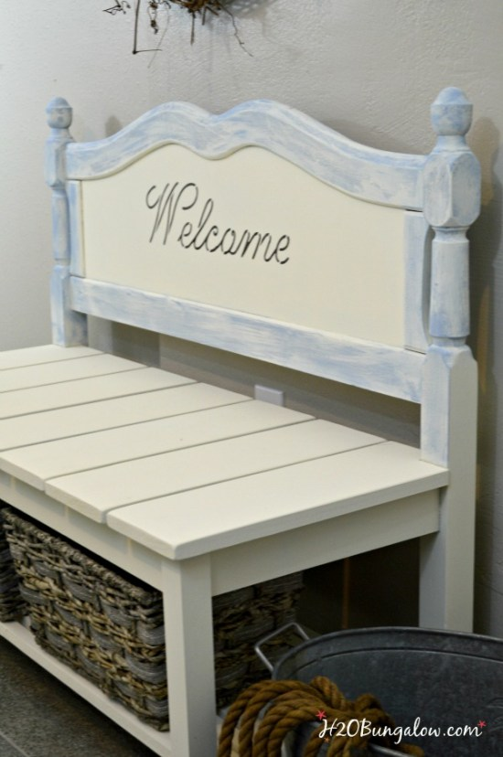 DIY twin headboard bench plus 14 more clever ways to repurpose and upcycle old stuff. DIY project ideas to inspire you to create new uses for old items into pretty and functional home decor.