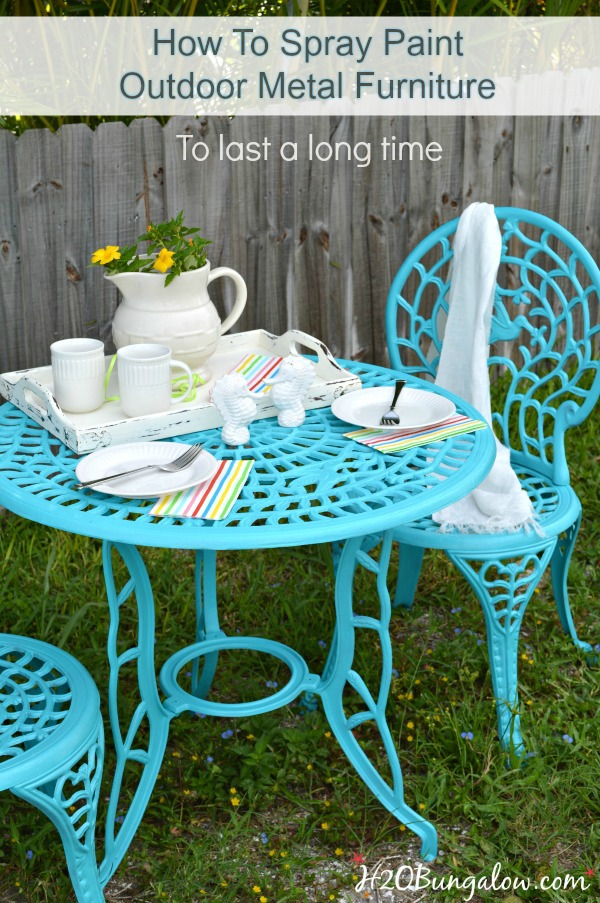 How To Spray Paint Outdoor Metal Furniture To Last A Long Time. Simple DIY  Tutorial