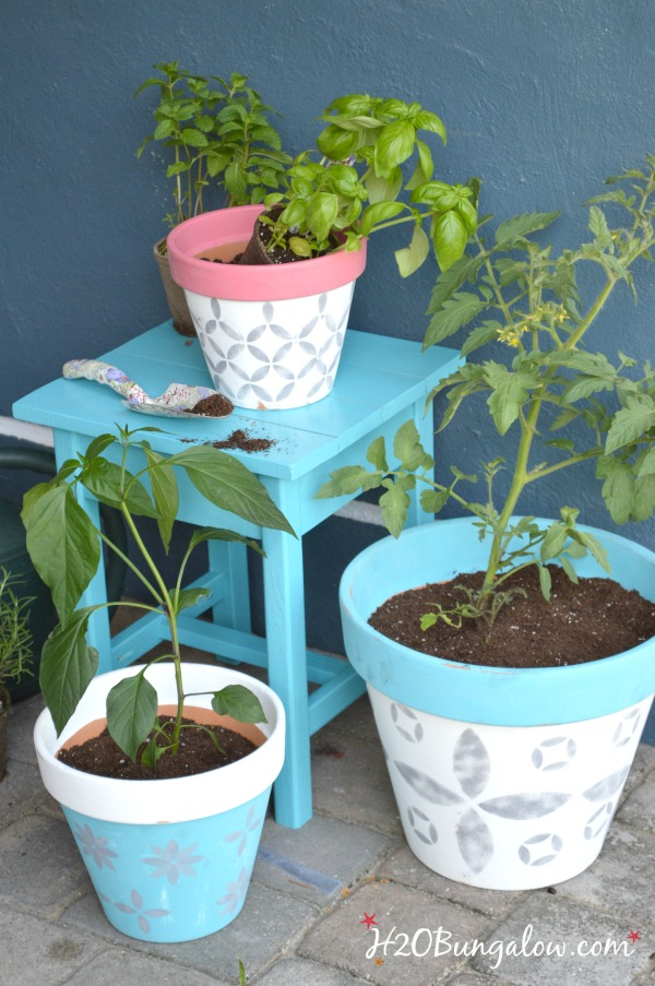 Turquoise-stenciled-planters-for-spring-H2OBungalow