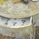 Aged chippy paint finish tutorial for a furniture makeover with stamped drawer. Step by step instructions with full supply list included for the fabulous aged furniture makeover by H2OBungalow