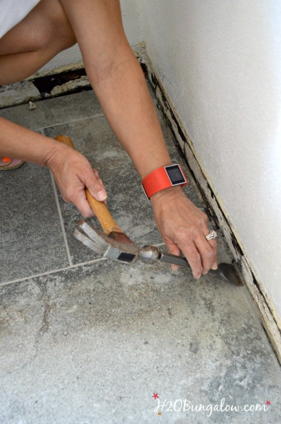 Chisel and clean walls for baseboards H2OBungalow