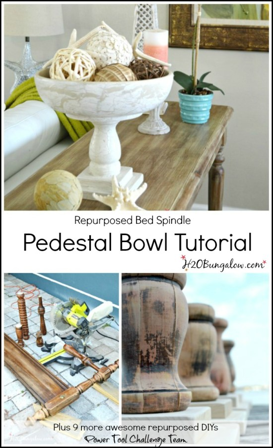 Repurposed Bed Spindle Pedestal Bowl Tutorial For Power Tool Challenge Team by H2OBungalow