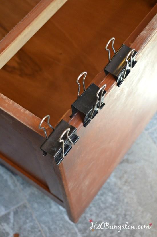 rrepairs on old vintage dresser for americana dresser makeover H2OBungalow
