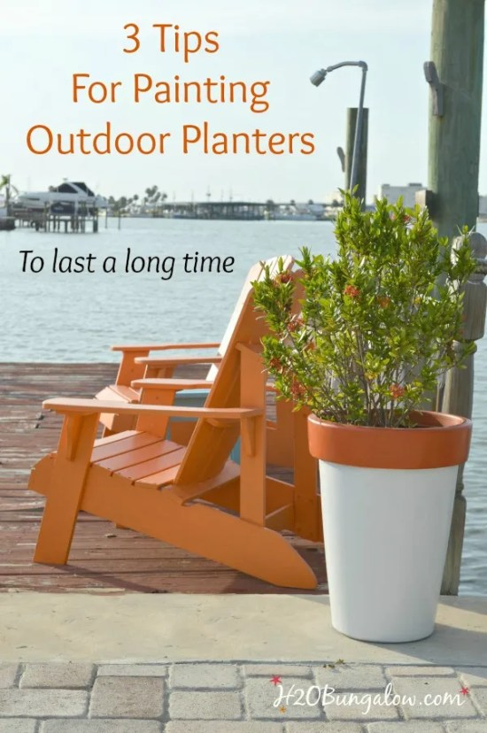 Simple tutorial with 3 tips for painting outdoor planters and your outdoor paint project will last a long time. H2OBungalow