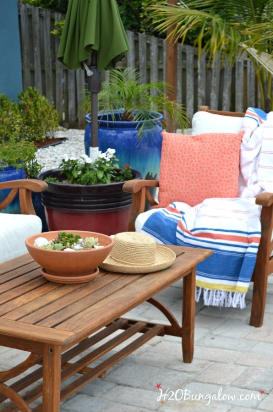 Save time and effort, easy tutorial to restore outdoor teak furniture with tips and product recommendations. Works on all outdoor wood furniture makeovers. See this and the rest of the 30 Days To Fabulous backyard makeover projects by H2OBungalow