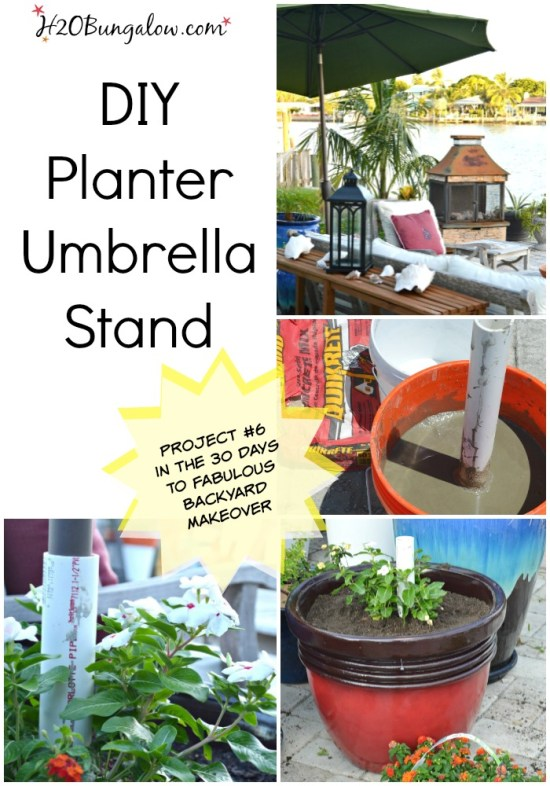EASY tutorial to make a sturdy DIY umbrella planter stand with pvc pipe. Instructions to make a large or small umbrella stand H2OBungalow