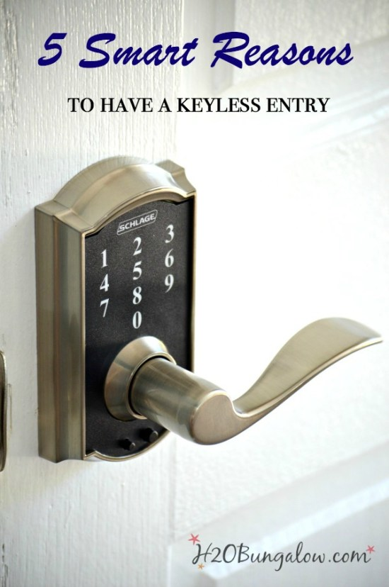 The top 5 smart reasons to have a keyless entry with video showing how easy it is to operate. This is a must read if you've been thinking of getting a keyless deadbolt for your home or office. H2OBungalow