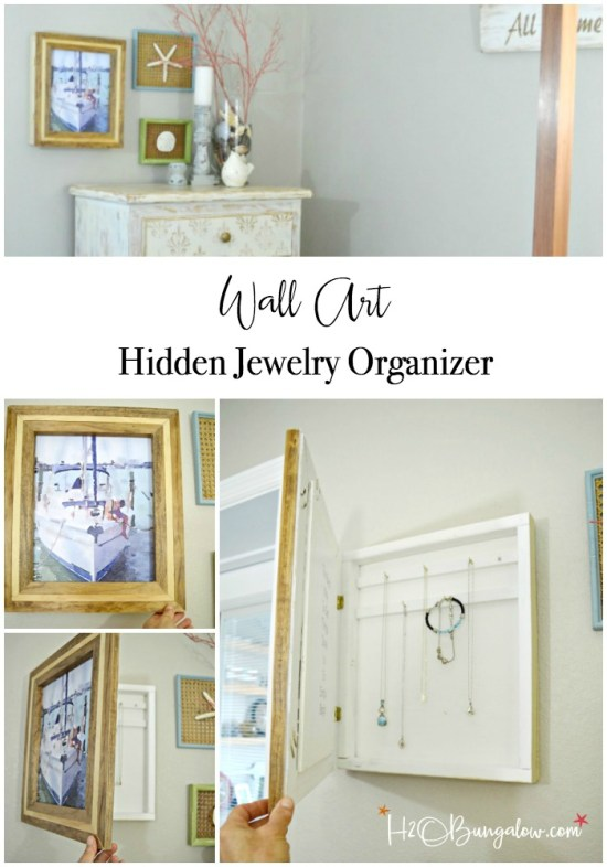 Hanging DIY hidden jewelry organizer that doubles as wall art and fits your decor style. Customizable tutorial for simple or advanced building skills.