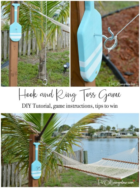 Warning, this game has been known to cause lots of laughter and bring out competitiveness in otherwise calm people! This is an easy to follow tutorial to make a DIY hook and ring game with supply list. Instructions on how to play this hook and ring toss game with strategy tips to win are included. Add this to your summer outdoor family games! H2OBungalow.com - find over 450 tutorials on ways to make home better.
