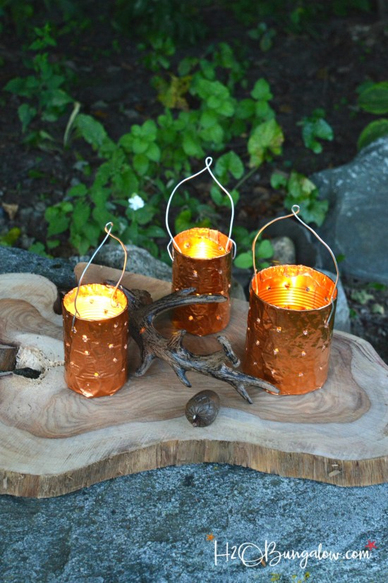 Repurposed tin can candle holders plus 14 more clever ways to repurpose and upcycle old stuff. DIY project ideas to inspire you to create new uses for old items into pretty and functional home decor.
