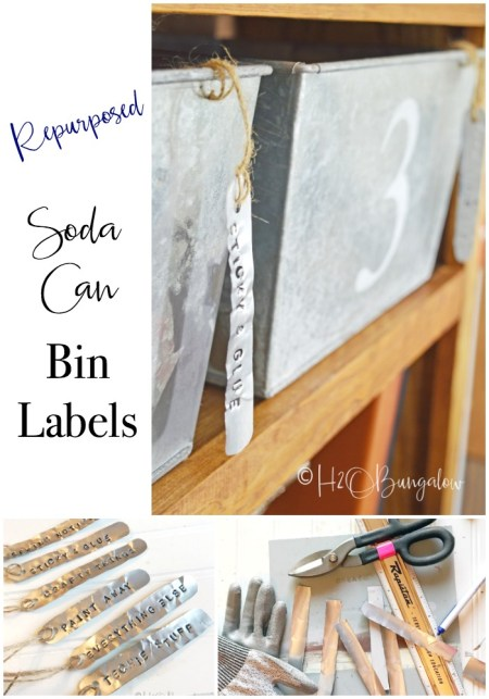 Easy to make soda can stamped metal labels for galvanized bins is a perfect farmhouse or rustic modern style home decor. Try stamping metal labels for home and office organization. One can makes several labels. Make other crafts with metal stamping and soda can metal too.