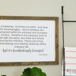Tutorial to make your own large modern inspirational wall art. Save big, make your own trendy sign with words to make easy wall home decor!