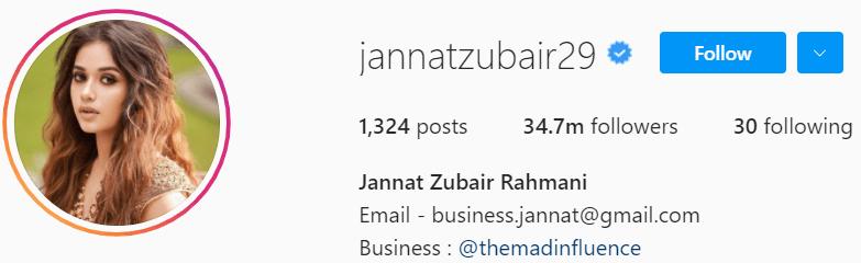 Biography of Jannat Zubair