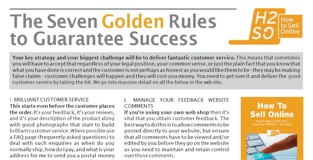 The Seven Golden Rules to Guarantee Success On Amazon & eBay
