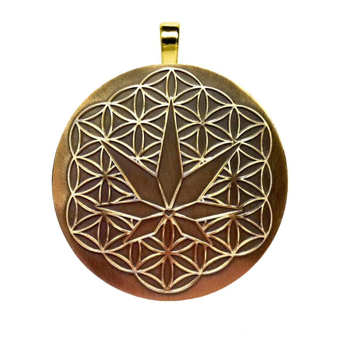 H3MP brass raised logo pendant