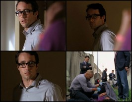 Vincent says he has to go change his glasses. What I find interesting here is the way you see the change come over Vincent from this flustered man trying to get a beautiful woman out of his home to the confident, self assured killer.
