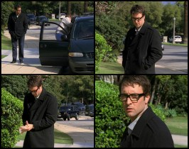 Vincent leaves his house and avoiding cracks on the pavement starts walking (where is he going?) and happens upon a couple putting an elderly lady in the car and hands them something they drop. After sanitizing his hands, he sees an Open House sign.
