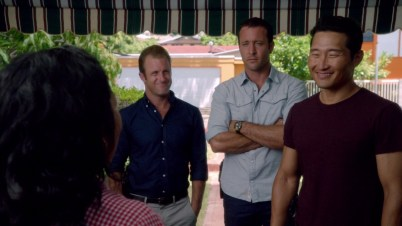 Danny and Chin are all smiles and McG is all eye-sexing. Lucky her.