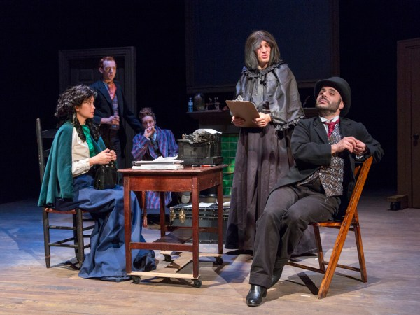 Photo: Sherlock Holmes; Desiree Sanchez, Director; Cast: Kirsten Foster; Peter Groom; Loren O'Dair; Michael Rivers & Hemi Yeroham; Photo Call & Dress Rehearsal: Wednesday, September 23, 2015; 4:00 PM at Western Connecticut State University Visual and Performing Arts Center; Danbury, CT; Photograph: © 2015 Richard Termine PHOTO CREDIT - Richard Termine