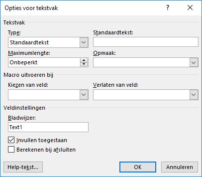 Invulvelden (opties voor tekstvak)