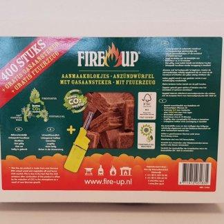 Fire-up Aanmaakblokjes 400 stuks (met gratis aansteker) - Haardhouttoppers.nl