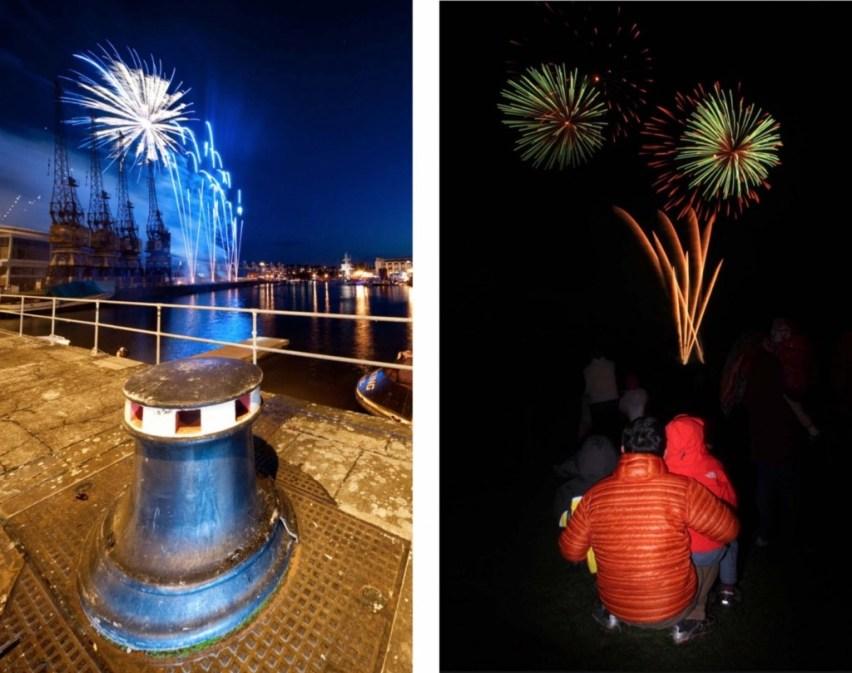 6. Silhouet Je kunt je foto interessanter maken door te zorgen voor een fraai silhouet in de voorgrond of aan de horizon. Het vuurwerk verlicht de lucht dus alles dat verder in beeld komt zal zich al snel als een zwart slihouet aftekenen. Belangrijk is dan wel dat het vuurwerk daadwerkelijk achter het silhouet zichtbaar is.    7. Inflitsen Desgewenst kun je de voorgrond inflitsen. Maak een proeffoto (dit kan zonder vuurwerk want het gaat om het effect van het flitslicht op de voorgrond) en kijk of dit het gewenste resultaat geeft. Is de voorgrond te donker dan kies je een grotere diafragma-opening, is de voorgrond te licht dan moet je de diafragma-opening iets kleiner kiezen.