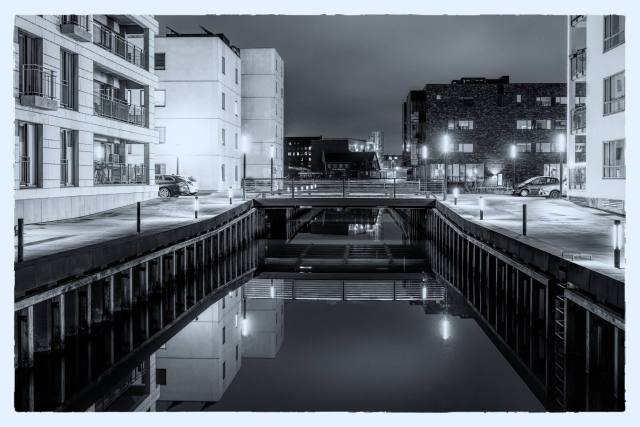 odense harbor channels at night