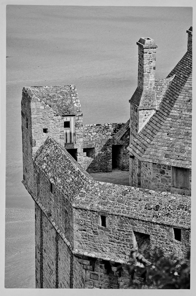 skybird perspective on tower on mont st, michel
