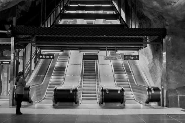 escalators at t-centralen subway station stockholm