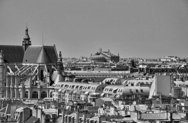 a day in paris: rooftop view over sunny paris