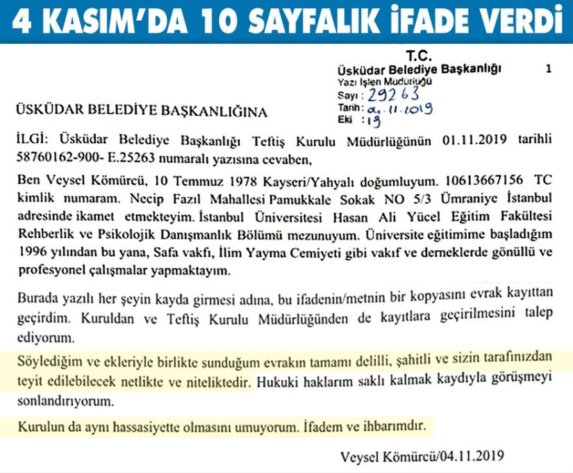 """Üsküdar Belediyesi'ndeki müdürden zehir zemberek """"yolsuzluk"""" mektubu"""