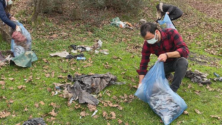 İstanbul'un ormanlarında gönüllü temizlik çalışması